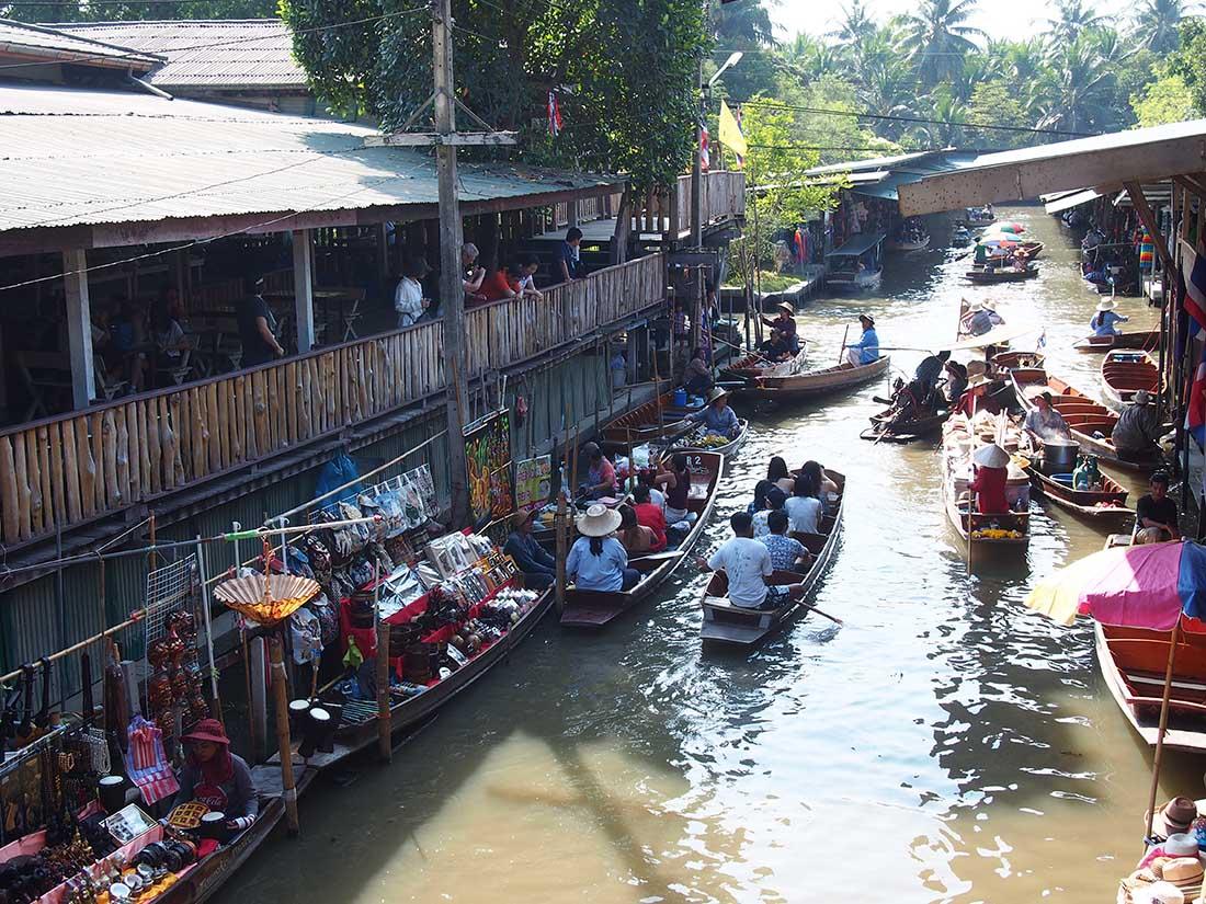 bangkok marche flottant bateaux