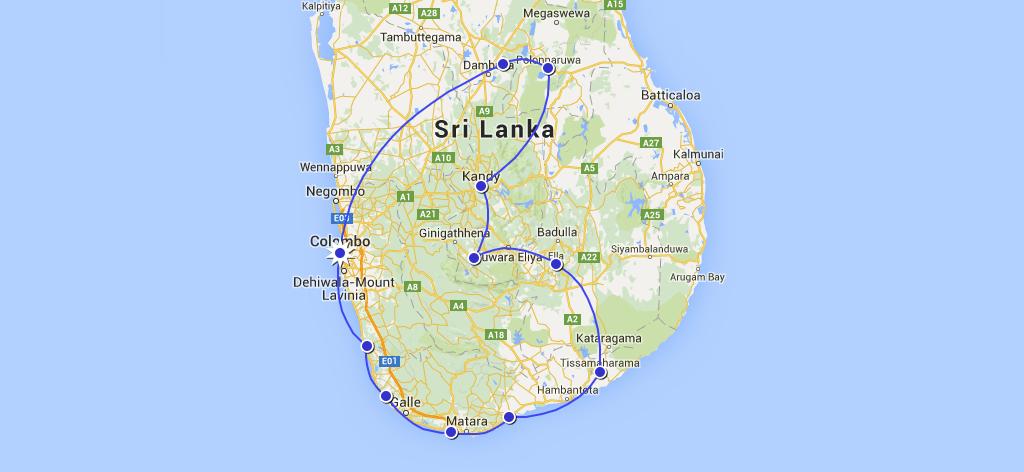 itineraire roadtrip sri lanka